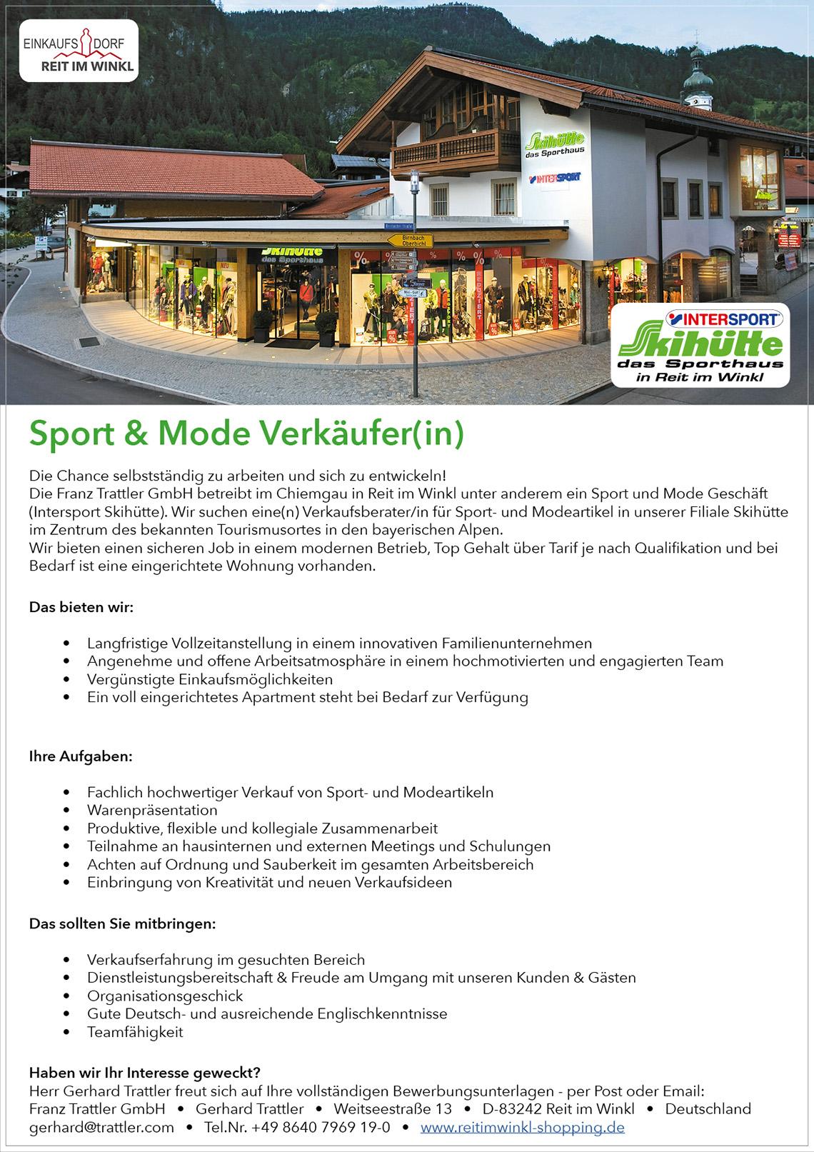 Stellenanzeige Sport & Mode